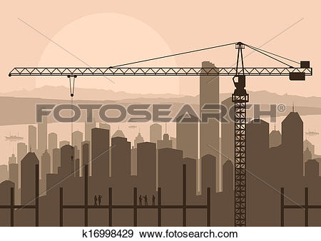 Clip Art of Industrial skyscraper city and construction site crane.