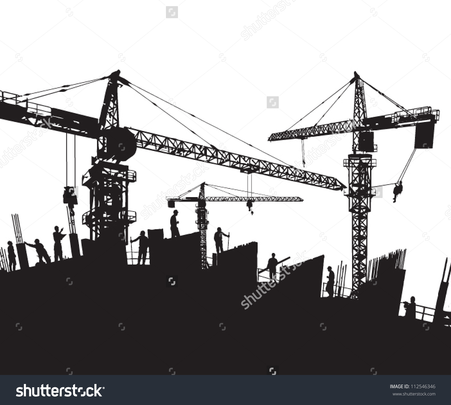 Construction Site Silhouette Cranes Workers Stock Vector 112546346.