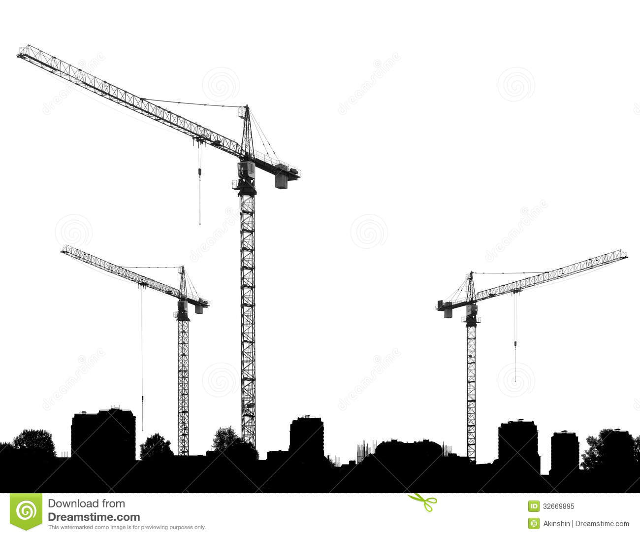 Construction Site With Cranes And Silhouettes Buildings Royalty.