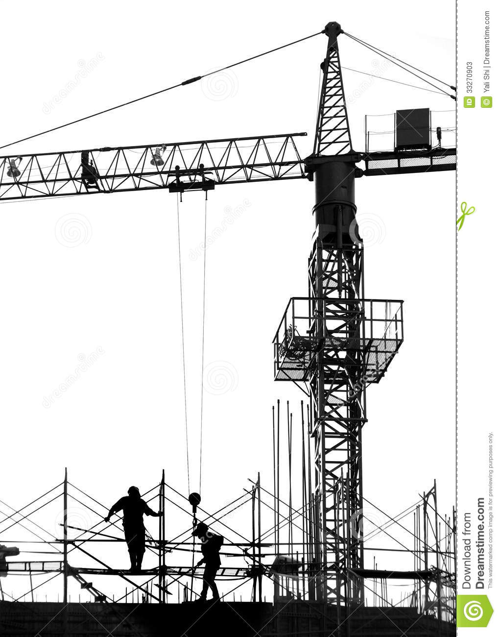 Building Construction Silhouette Clipart.