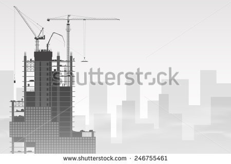 Lots Tower Cranes On Construction Site Stock Vector 73510993.