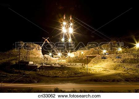 Stock Photo of Construction site at night in Las Vegas cri33062.