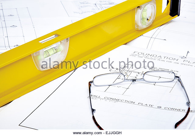 Construction Site Plans Hammer Pencil Stock Photos & Construction.