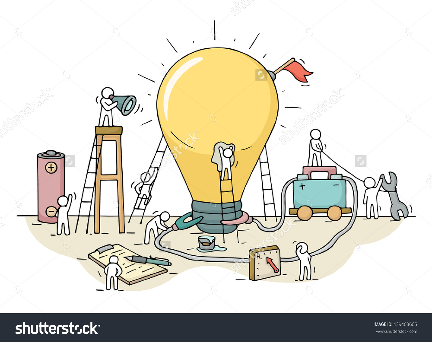 Sketch Lamp Idea Construction Working Little Stock Vector.