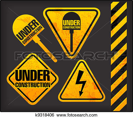 Clip Art of Under construction. Grunge signs with the lighting and.