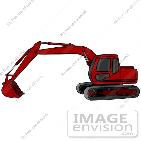 Red Trackhoe Tractor Working At A Construction Site Clipart.