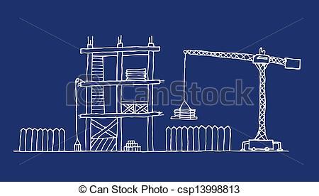 Vector Clip Art of Construction site cartoon blueprint csp13998813.