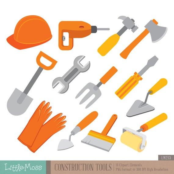 Construction Tools Digital Clipart.