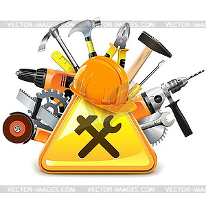 Construction Tools with Sign.