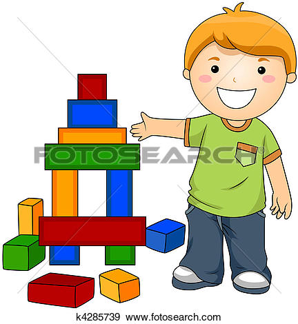 Drawing of boy building with blocks nan0033.