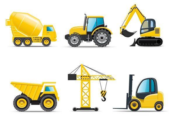 Construction Trucks & Crane Vector.
