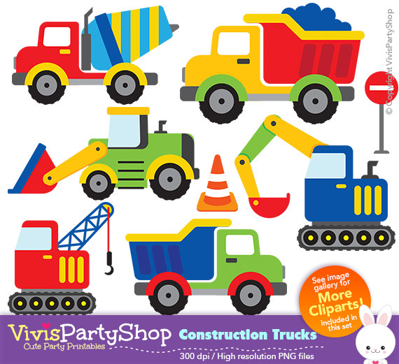 CONSTRUCTION TRUCKS Clipart, Printable, Instant download, PNG.