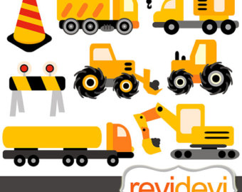 Under Construction clipart, Digital printable art, Truck clipart.