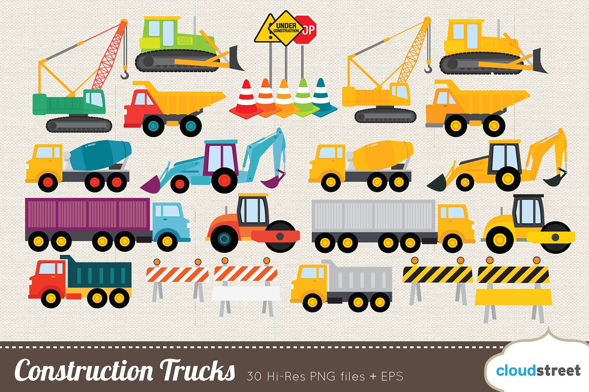 Construction Trucks Clipart ~ Illustrations on Creative Market.
