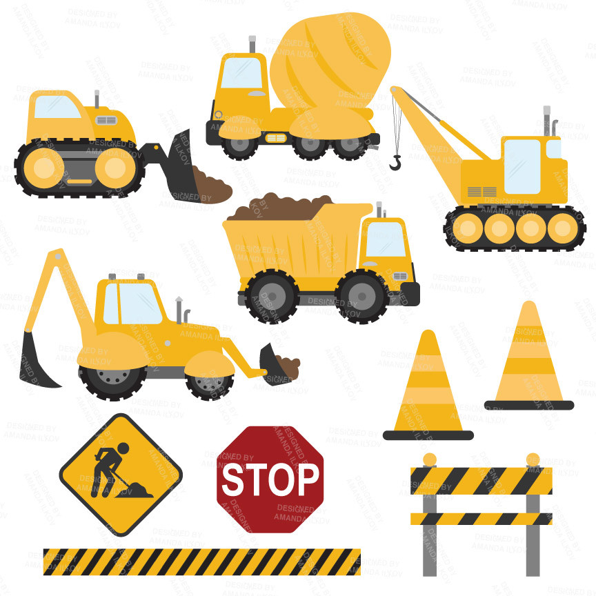 Construction Trucks Clipart Vectors in Sunshine.