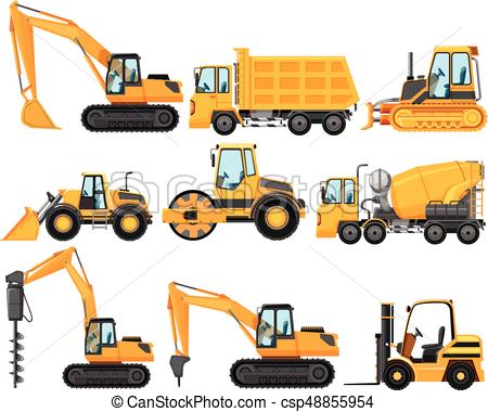 Different types of construction trucks.