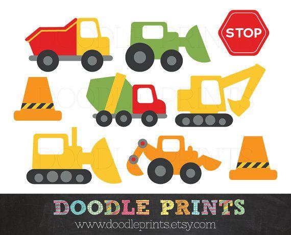 Clipart Construction Trucks, Construction Digital Clip Art Design.