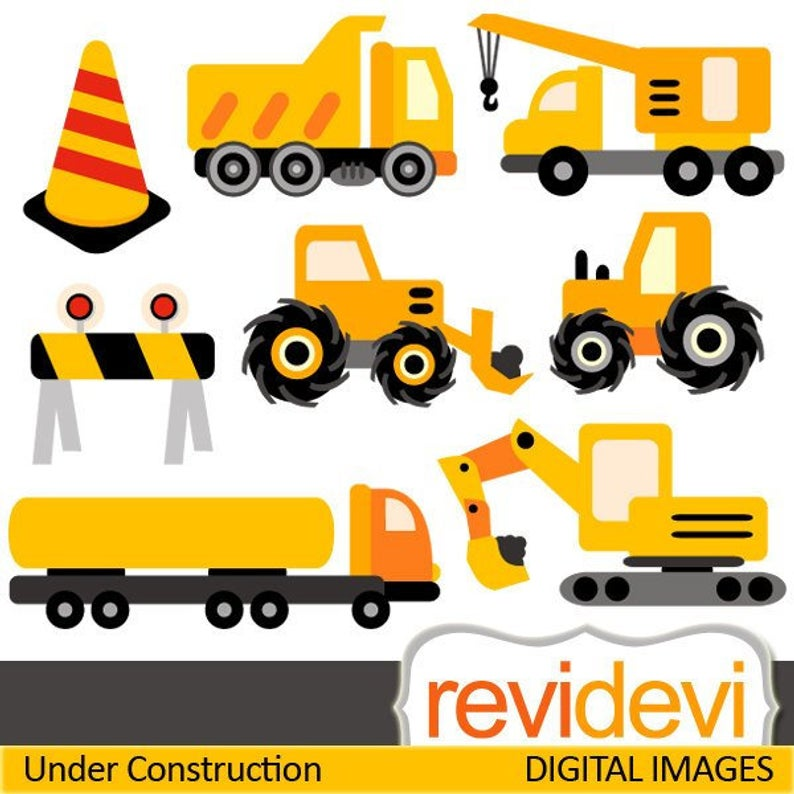 Construction trucks clipart sale, yellow black. Under construction clip art  download.
