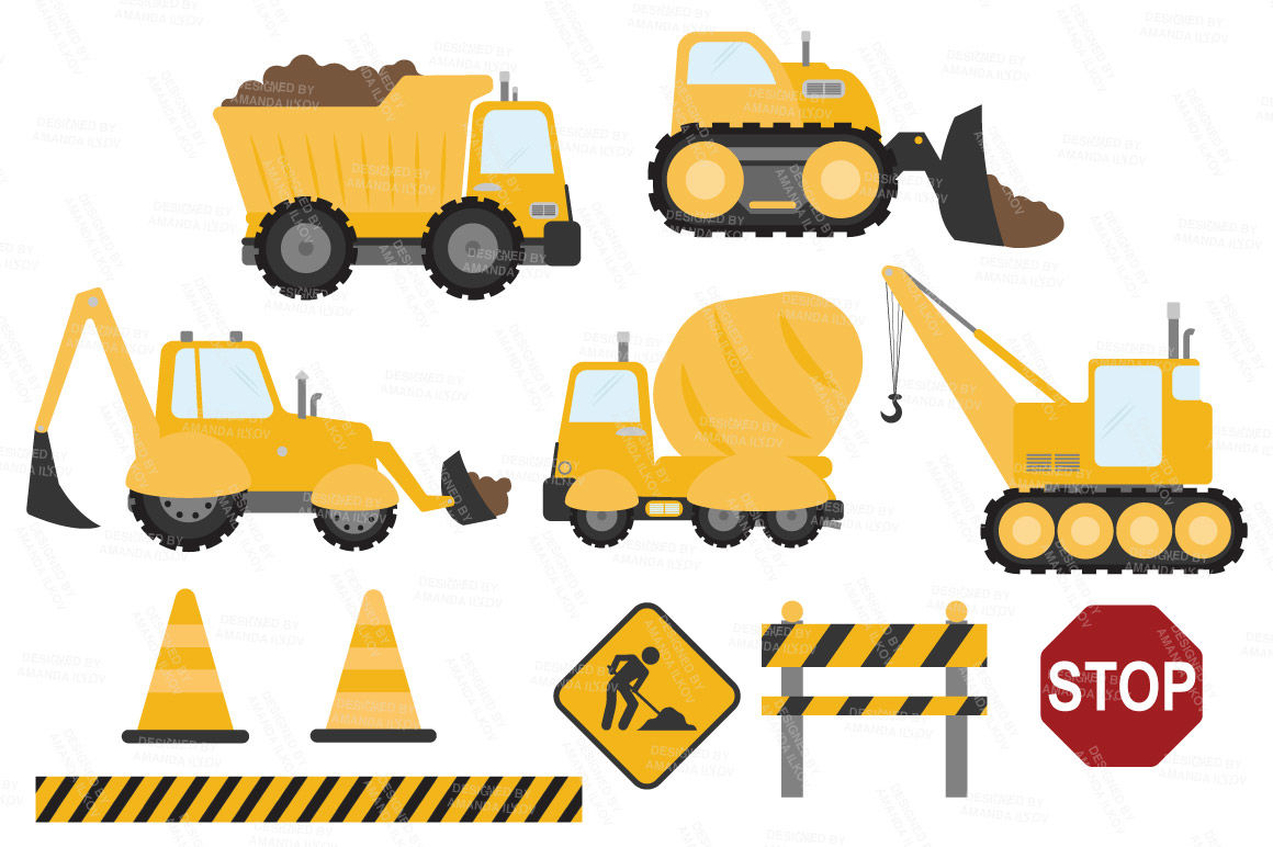 Sunshine Vector Construction Trucks Clipart By Amanda Ilkov.