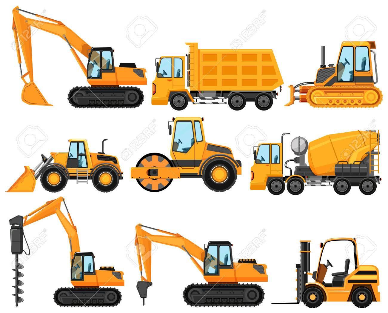 Different types of construction trucks illustration.