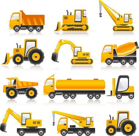 Free Construction Vehicles Vector Collection Clipart and Vector.