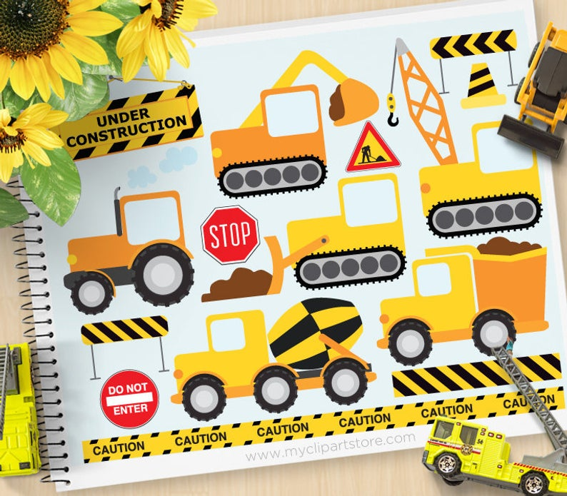 Construction Vehicles Clipart, transportation clipart, delivery truck,  cement mixer, Personal and Commercial Use Vector Clip Art, SVG Files.