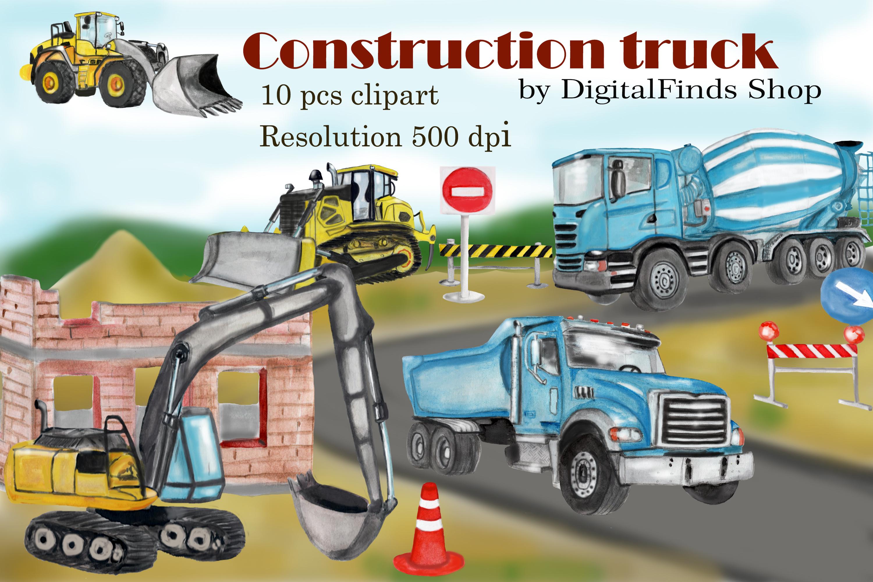 Construction truck clipart, dump truck, excavator clipart.