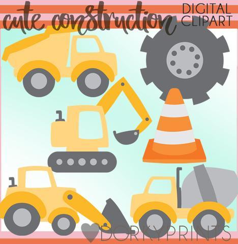 Cute Construction Vehicles Clipart.