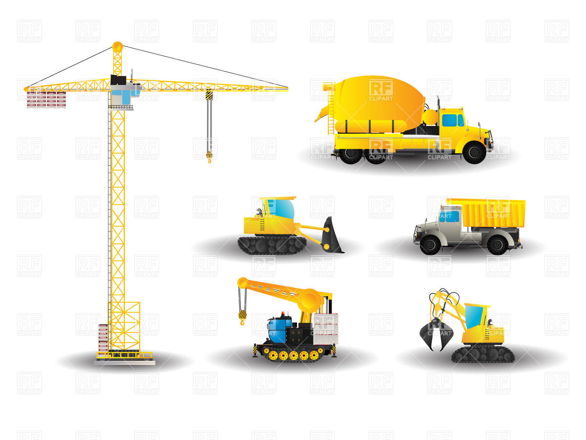 Cartoon style construction vehicles Stock Vector Image.