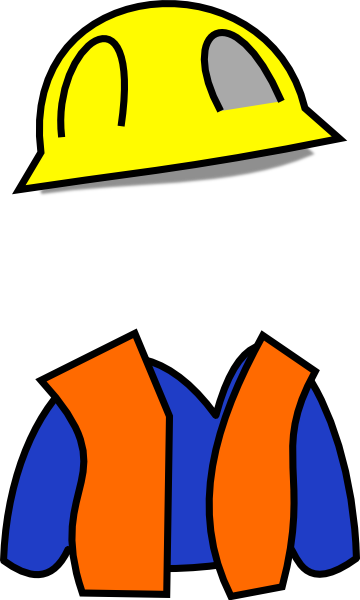 Clip art construction workers at work.