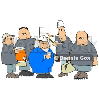 of a Cartoon Group of Caucasian Male Construction Workers with a.