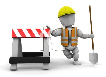 3D Road Construction Worker Leaning on a Sawhorse.