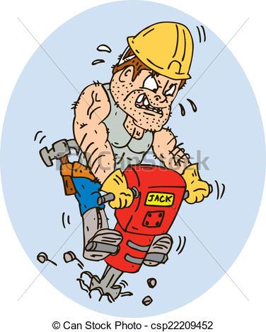 Construction Worker Jackhammer Drilling Cartoon.