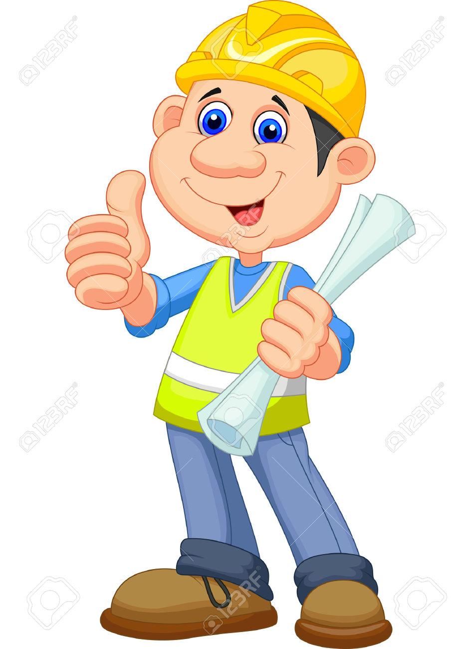 Cartoon Construction Worker Repairman Royalty Free Cliparts.