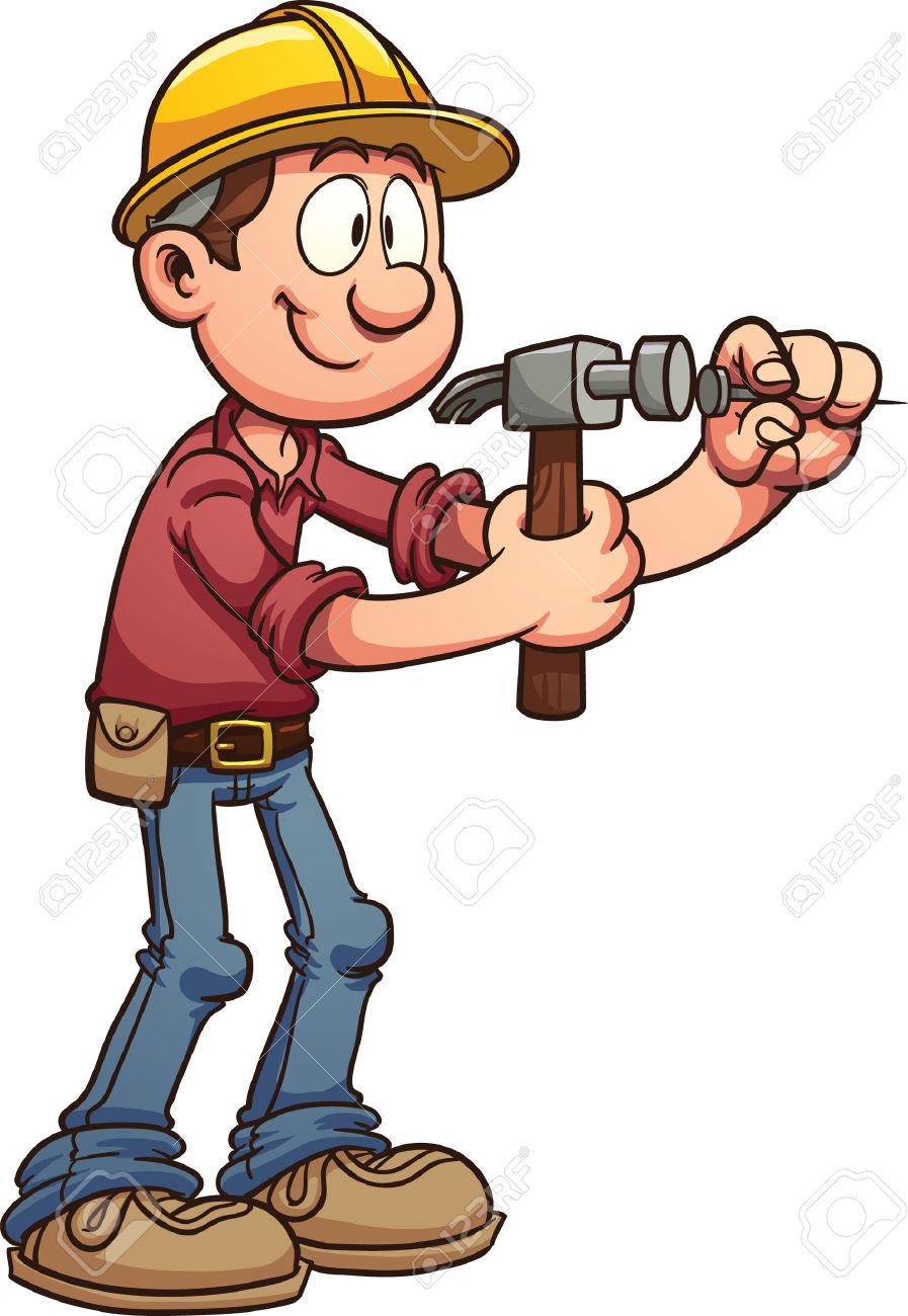 Construction Worker Hammering A Nail Vector Clip Art Illustration.