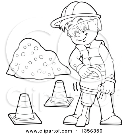 Similiar Black And White Cartoon Construction Worker Keywords.