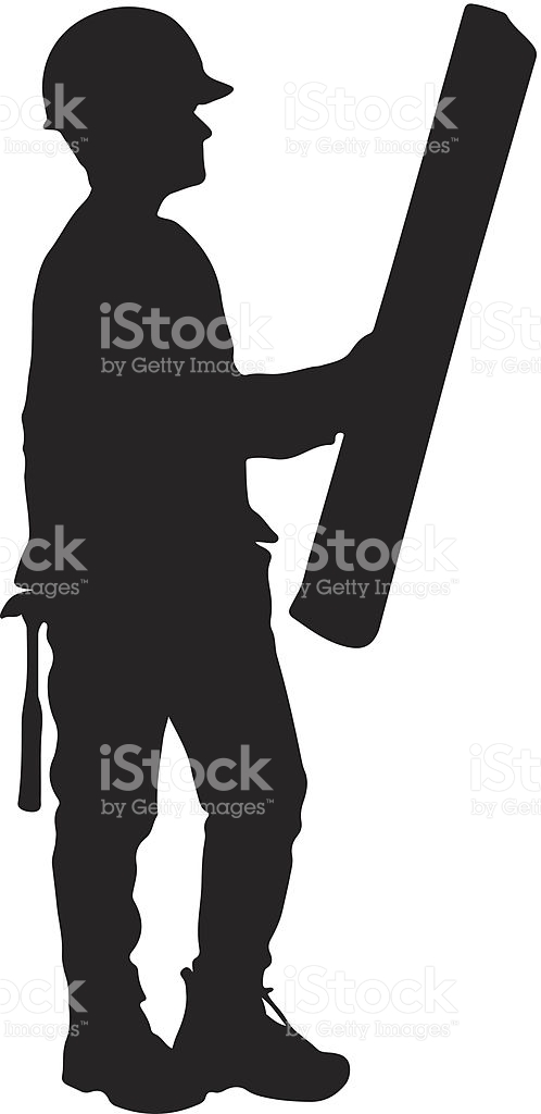 Construction Worker Reading Plans Silhouette stock vector art.