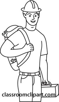 Construction Worker Clipart Black And White.