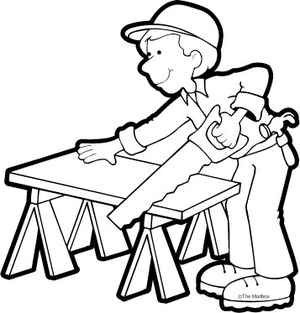Construction Worker Clipart Black And White