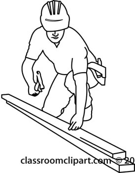 Construction Worker Black And White Clipart.