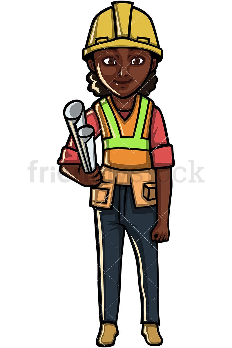 Black Female Construction Worker.