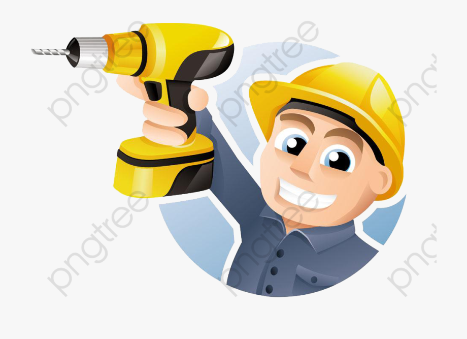 An Electric Tool Worker, Safety Hat, Hand Tools, Cartoon.