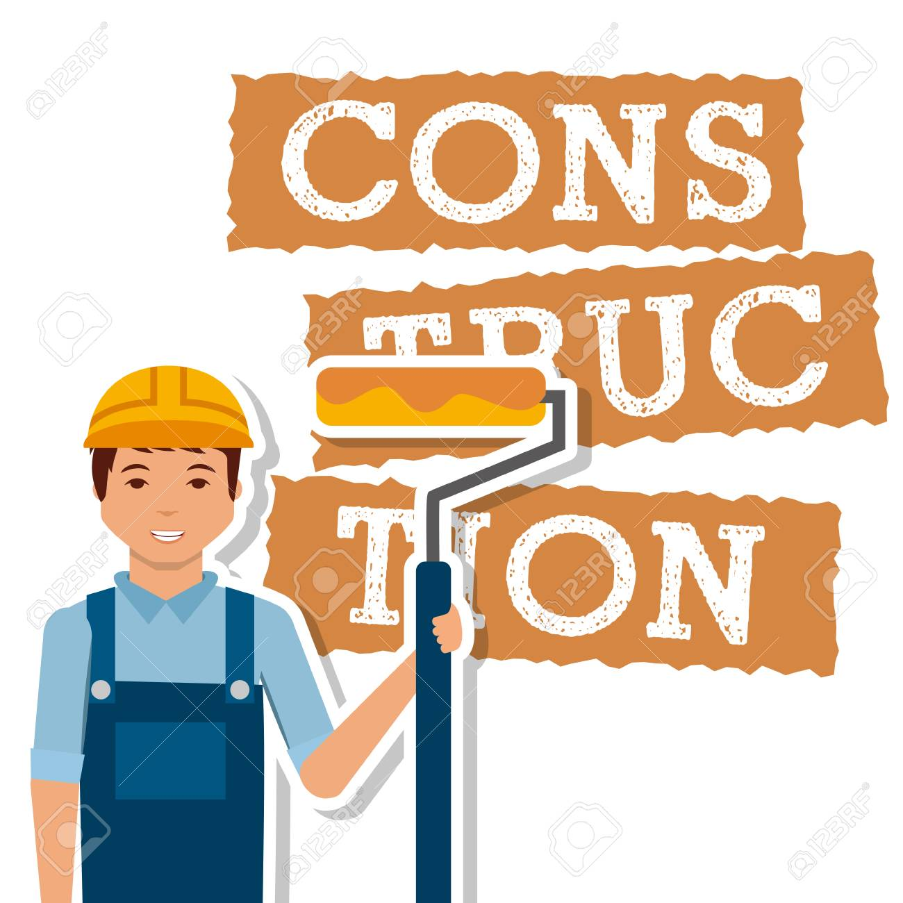 construction worker roller paint tool vector illustration.