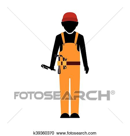 Builder construction worker tools Clipart.