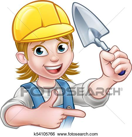 Builder Bricklayer Construction Worker Trowel Tool Clip Art.