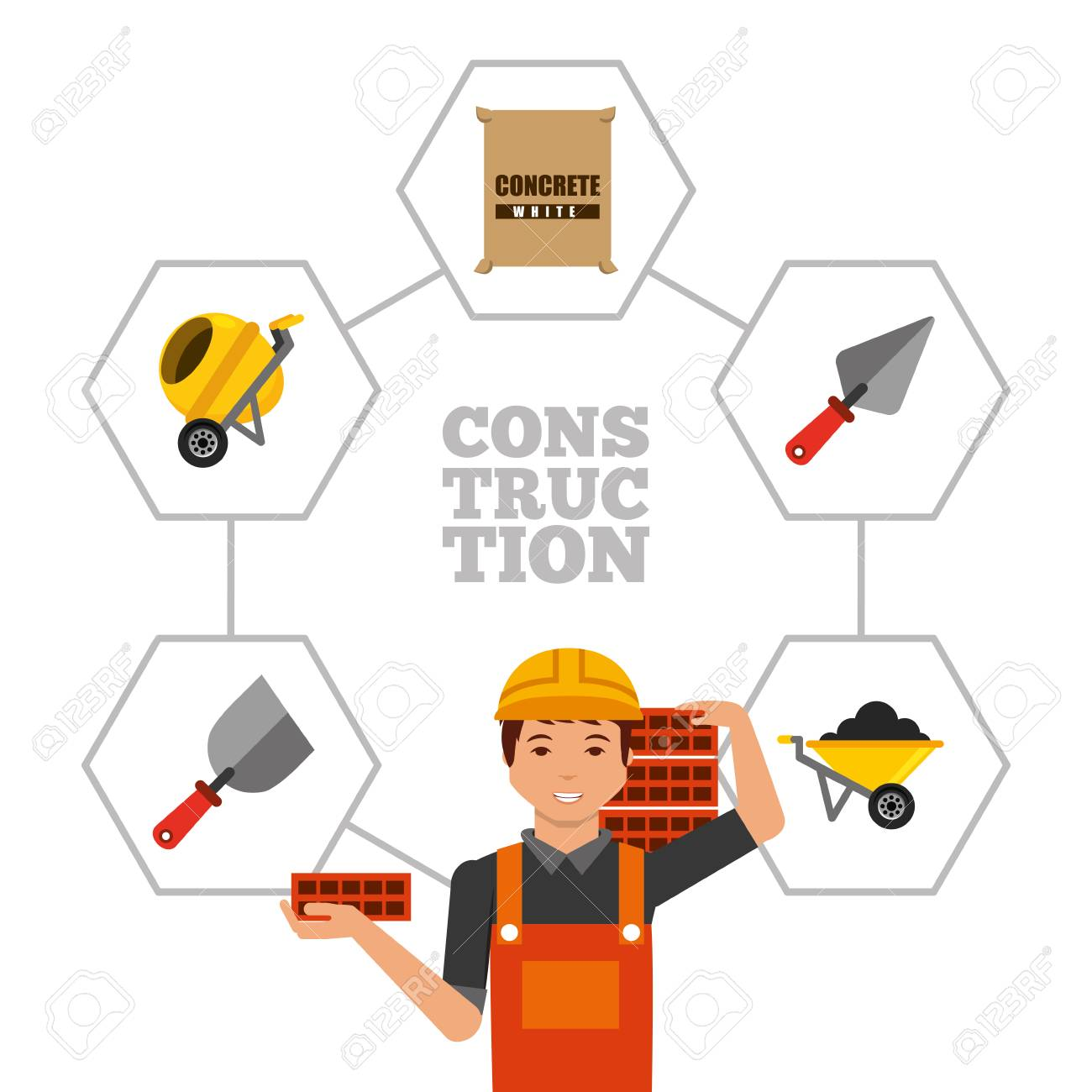 construction worker holding bricks and tools vector illustration.