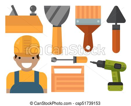 Construction tools worker equipment house renovation handyman vector  illustration..