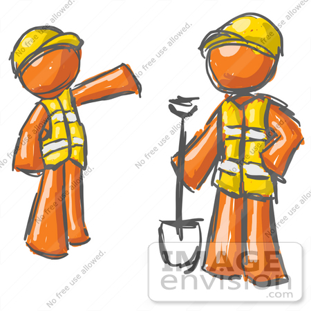 Clip Art Graphic of an Painted Orange Guy Character Instructing An.