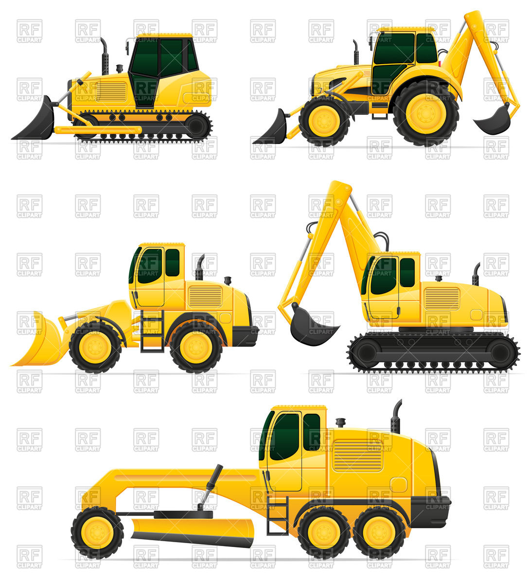 Car equipment for construction works: bulldozer, excavator and.