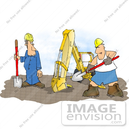 Man in Boxers and Tanktop Shoveling at a Construction Zone Clipart.